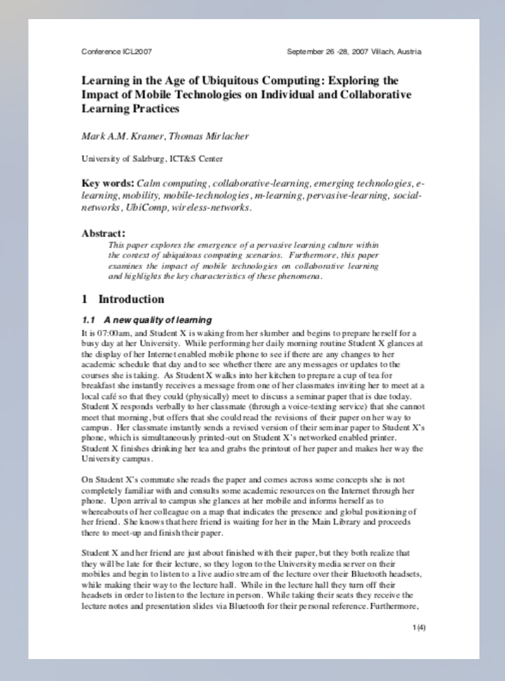 Learning in the Age of Ubiquitous Computing: Exploring the Impact of Mobile Technologies on Individual and Collaborative Learning Practices